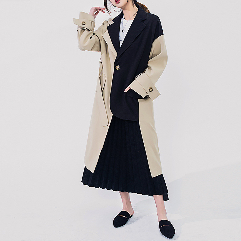 Women   Trench   Coat 2019 Spring Autumn New Contrast Color Splice Windbreaker Female Suit Collar Long Sleeve Casual Outerwear R489