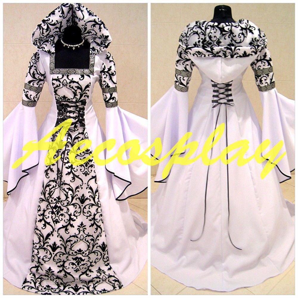 Medieval Victorian Renaissance Gothic Wedding Dress Vampire Cos Costume S 3XL