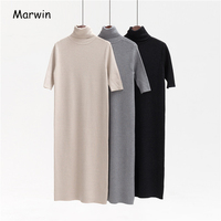 Marwin 2018 New Coming Long Half Turn down Collar Knitted Pullovers Solid Primer Shirt Knitted Dress Winter Sweater High Qulaity