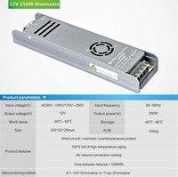 Triac & 0 10V dimmable DC power supply for led strip light DC 12Vdc 20.8A DC 24V 10.4A 250w lighting transformer