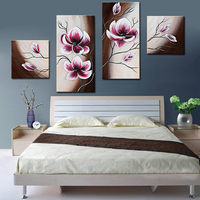 Handmade Wall Picture Pink Flowers Exquisite Oil Painting Modern 4 Panel Home Decoration On Canvas Art Photos for Living Room