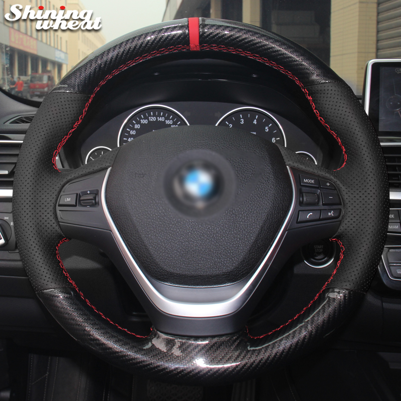 Shining wheat Black Genuine Leather PU Carbon Fiber Steering Wheel Cover for BMW 316i 320i 328i