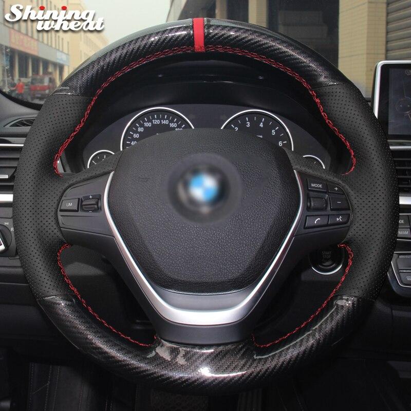 Brillant blé Noir Véritable En Cuir PU Fiber De Carbone Couverture de Volant pour BMW 316i 320i 328i 320d F20 F45 F30 f31 F34 F32 F33