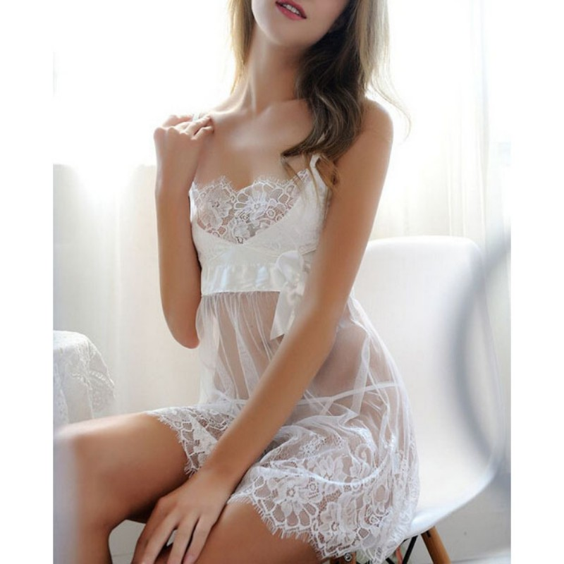Womens Sleep dress 2018 Costumes Lace Lingerie G-string Sexy Nightwear Underwear Female Babydoll Sleepwear Plus Size 3XL