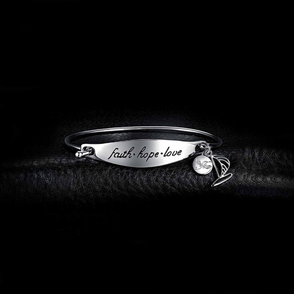 Hope Love Bracelet 925 Sterling Silver Bracelet ID Charm Bracelet Bangle Bracelets For Women Silver 925 Jewelry Making Organizer in Bracelets Bangles from Jewelry Accessories