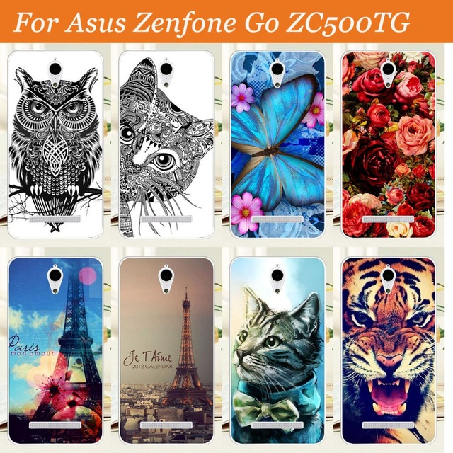 newest 372a3 d884f US $1.02 46% OFF New Pattern painting Case For Asus Zenfone GO ZC500TG 5  inch Colored tiger owl rose design Hard PC Case Back Cover Skin Sheer-in ...