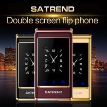 Ücretsiz kulaklık Flip çift ekranlı telefon desteği rusça klavye ucuz kıdemli dokunmatik cep telefonu yaşlı kapaklı PK TKEXUNP084