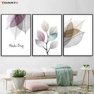 Image 2 - צבעי מים מופשט עלה בד ציורי קיר נורדי כרזות הדפסי מינימליסטי קיר אמנות תמונות לסלון חדר שינה
