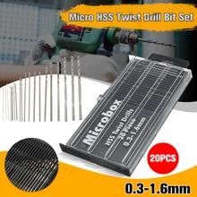 20 шт Мини-сверло Высокоскоростная сталь HSS микро-спиральное сверло набор 0,3 мм-1,6 мм Модель Ремесло с чехлом запасные части