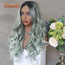 Oxeely Side Part Wig Ombre Color Synthetic Lace Front