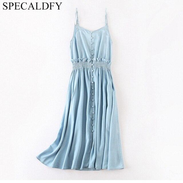0111e182f3c8b Aliexpress.com : Buy Summer Dress Sexy Sleeveless Backless Spaghetti Strap  Jeans Dress Women Single Breasted Suspender Denim Sundress Overall Dress ...