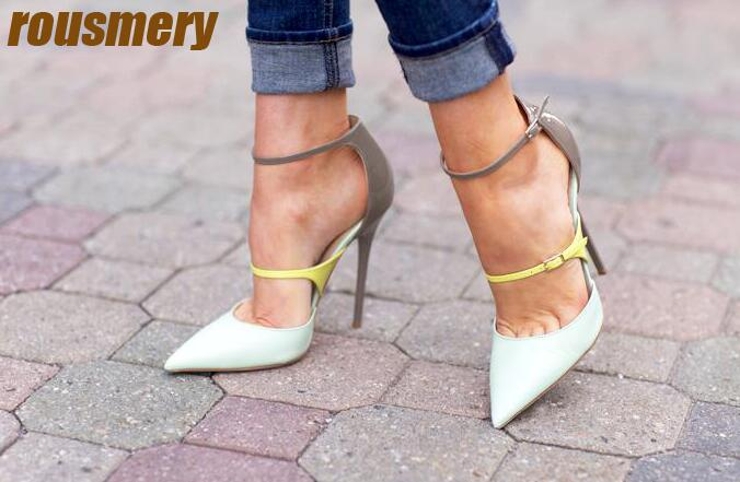 Spring Fashion White Leather Women Pumps Neon Ankle Buckle Patent Leather Patchwork Ladies Sexy High Heels Elegant Party Shoes