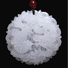 Beautiful Genuine Handmade Natural White Jadee Carved Dragon Phoenix Pendant Necklace Fashion Carving Pendants Jewelry