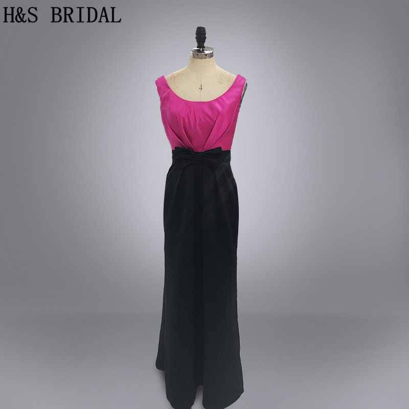Real photo purple and black satin cheap   bridesmaid     dresses
