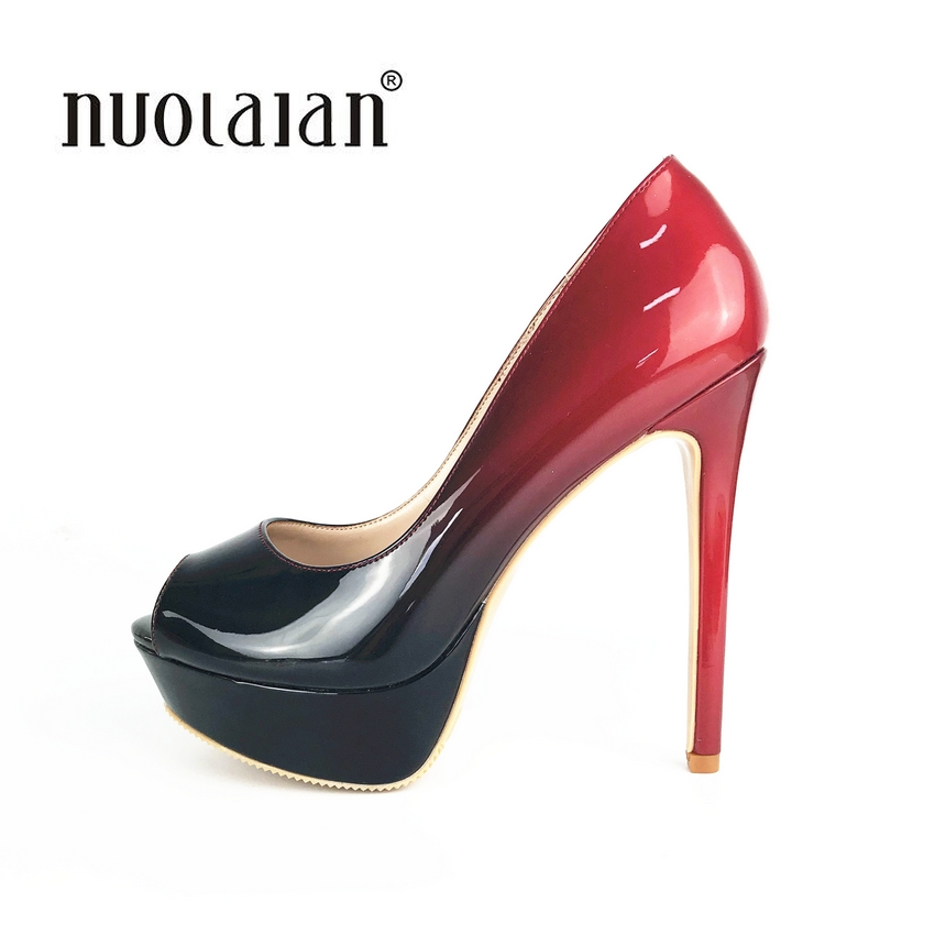 Brand fashion women pumps platform high heel pumps shoes for women sexy peep toe high heels sandals party wedding shoes woman apoepo brand 2017 zapatos mujer black and red shoes women peep toe pumps sexy high heels shoes women s platform pumps size 43