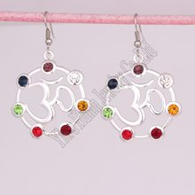 New Arrival seven chakra crystals symbol yoga charm religious hollow pendant yoga yogi earring(China)