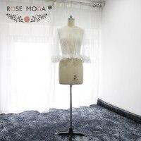 Rose Moda Hohe Qualität Gepunktete Tüll Kurze Cape mit Spitze Rand Weiß Elfenbein Braut Jacken Wraps Nach Maß
