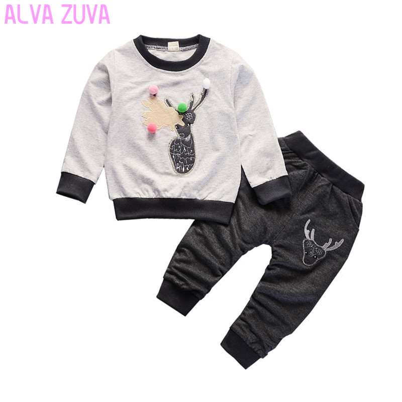 ALVA ZUVA 1-2-3-4-5 years Old Baby Boy Girl Clothes Infant Spring/Autumn Sweatshirts 2 piece Suits Children Clothes Sets Cyy076