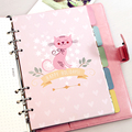 New cute cartoon animal series separator page core for spiral notebook,fashion planner index paper dividers for gift A5 A6
