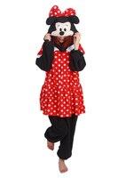 Minnie Mouse Homewear Pajamas Anime Cosplay Costume Unisex Adult Onesie Sleepwear Robe