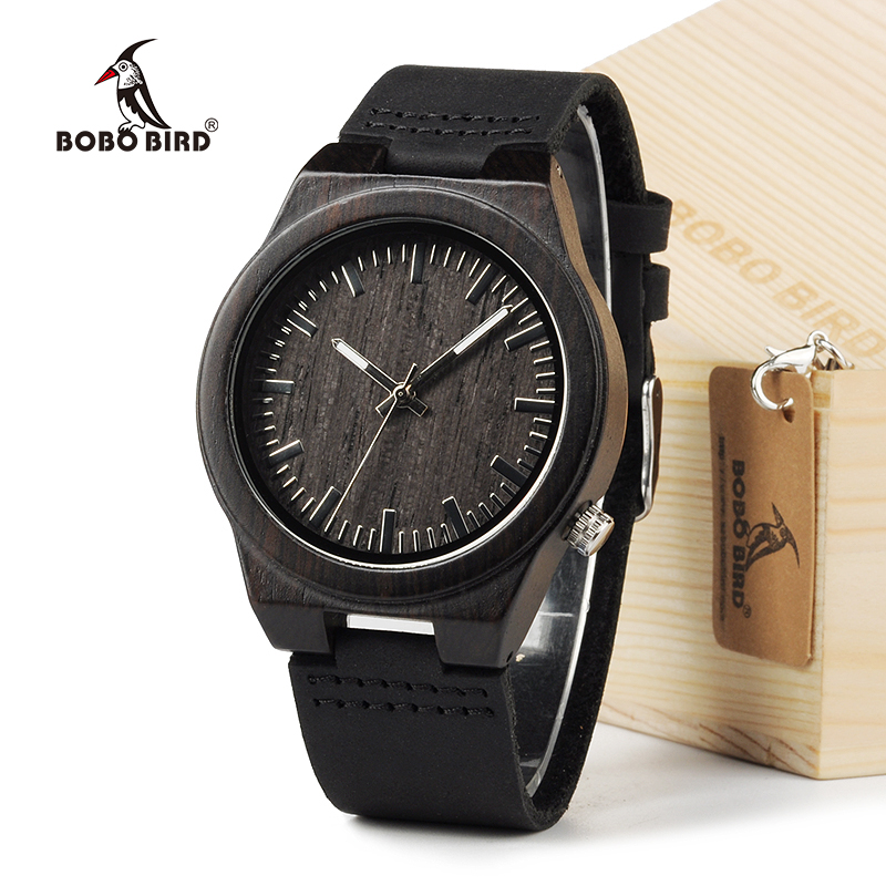 BOBO BIRD B12 Ebony Wood Men's Designer Bamboo Wooden Wristwatch With Genuine Leather Strap Casual Men dress Watch In Gift Box bobo bird brand new wood sunglasses with wood box polarized for men and women beech wooden sun glasses cool oculos 2017