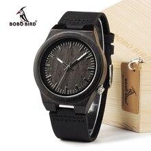 Бобо птица B12 эбенового дерева Для мужчин дизайнерские Bamboo деревянные наручные часы с ремешком из натуральной кожи Повседневное Для мужчин платье часы в подарочной коробке