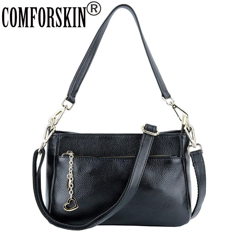 COMFORSKIN Luxury Handbags Women Bags Designer Cross body Bags Cowhide Leather European And American Travelling Shoulder Bags in Shoulder Bags from Luggage Bags