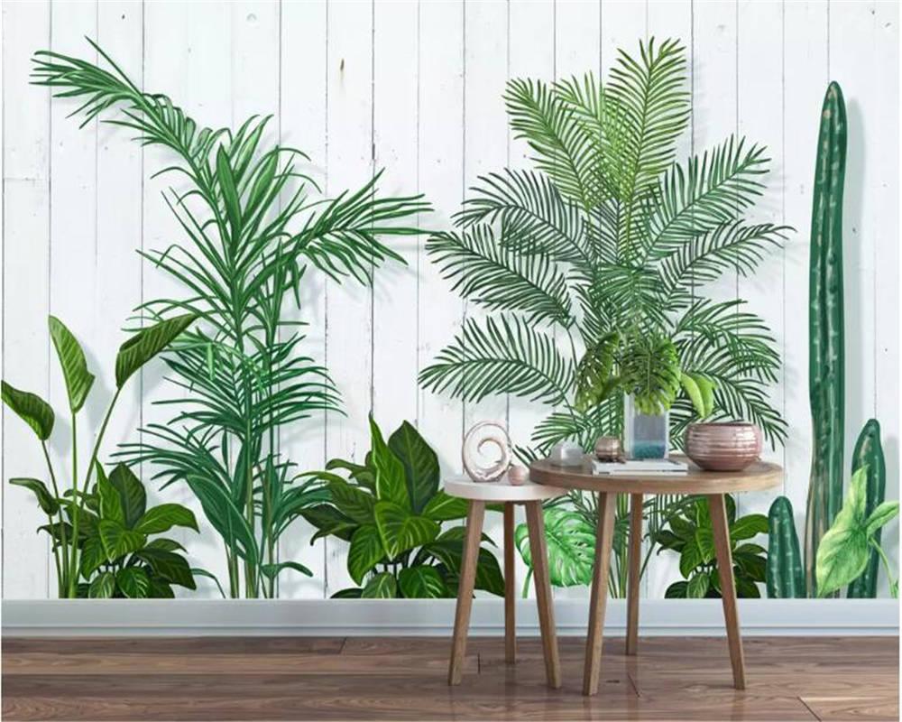 Beibehang Custom Living Room Background Decoration 3d Wallpaper Small Fresh Green Leaves Plant TV Background Wall 3d Wallpaper
