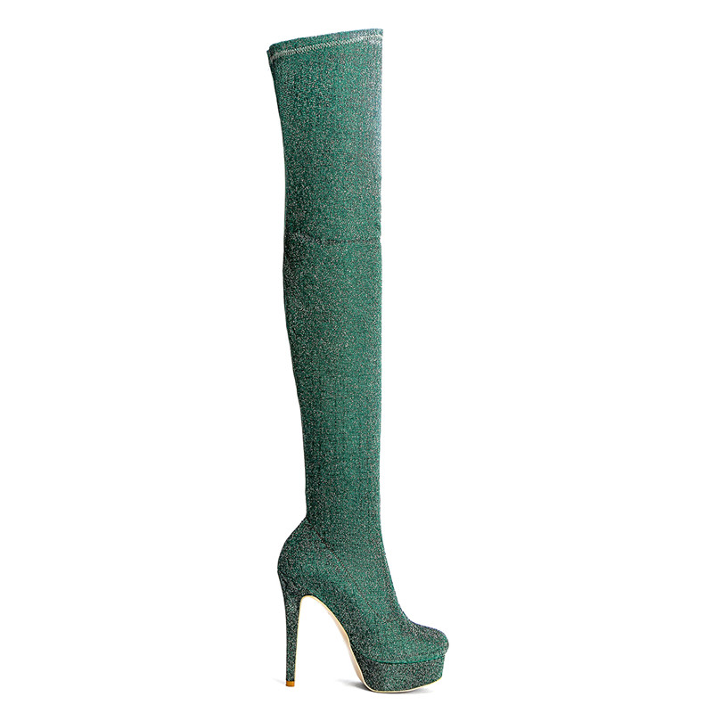 Cocoafoal Frau Hohe Mode Frauen Winter Sexy Größe Knie Oberschenkel Golden Green Über Plus Stiefel 43 Ferse Das Schuhe 33 rrzTv4q