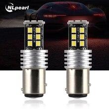 Nlpearl 2x lâmpada de sinal 1157 led bay15d p21/5w 1156 ba15s p21w led bau15s py21w 2835smd lâmpada de automóvel para a luz do carro