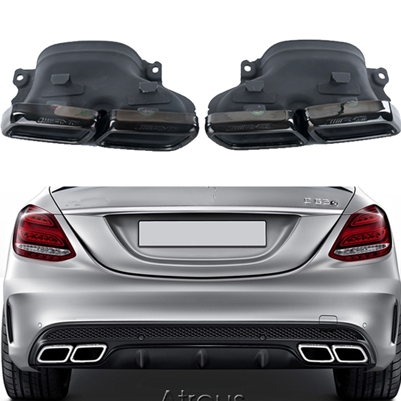 2pcs Chrome 304 Stainless Steel Car Exhaust Pipe Muffler Tips For Mercedes W205 BENZ C63 2012 2013 2014 2015 AMG Accessories2pcs Chrome 304 Stainless Steel Car Exhaust Pipe Muffler Tips For Mercedes W205 BENZ C63 2012 2013 2014 2015 AMG Accessories