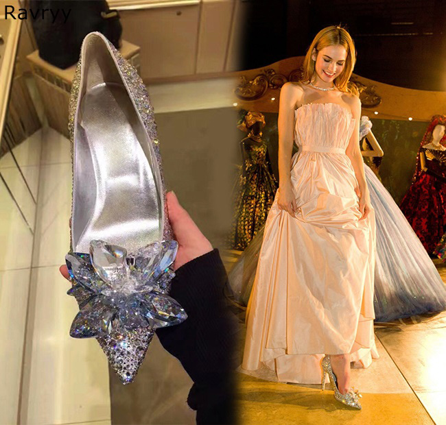 Bride wedding dress shoes Cinderella crystal shoes colorful rhinestone woman high heels slip-on female pump pointed toe stiletto mrs win high heels shoes women pointed toe fine rhinestone sequins glass bridesmaid wedding shoes cinderella crystal glass shoes