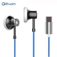 Ollivan TYPE C Digital Earphone HIFI Sound Heaset With Microphone Wire Control Earbuds For Xiaomi 6