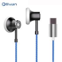 Ollivan TYPE C Digital Earphone HIFI Sound Heaset With Microphone Wire Control Earbuds For Xiaomi 6