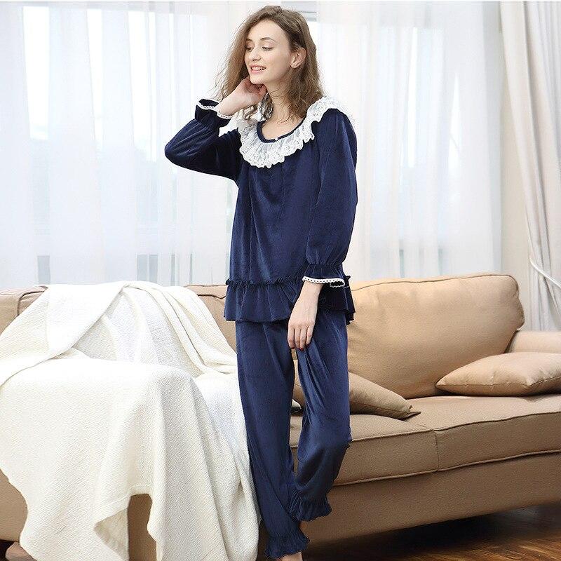 New Arrival Women Super Soft Flannel   Pajamas     Set   Womens Winter Sweet Princess Sleepwear Pijamas Vestidos 8A237