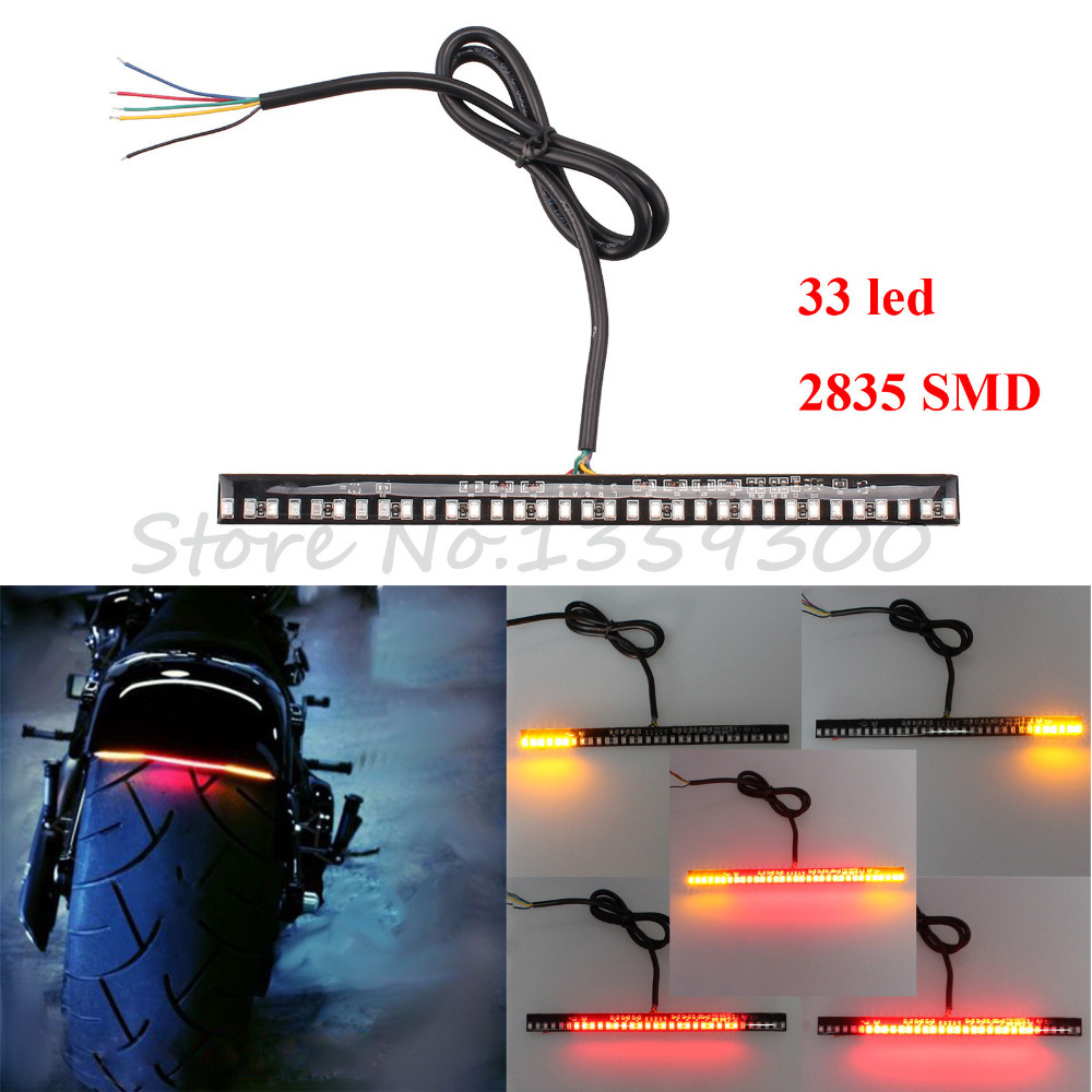 New Universal Motorcycle Tail Brake Stop Turn Signal Integrated 3258 Pasted LED Light Strip For Kawasaki Ninja 250 300 Z250 5pcs universal motorbike 24 led driving lights motorcycle turn signal brake lamp tail light stop lighting scooter accessories