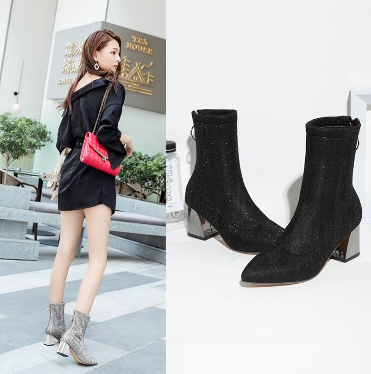 Llegada Zapatos Goma Tobillo Martin Moda Botas Effgt Mediados Otoño Lentejuelas Femeninos 2019 Mujeres Z108 Chelsea gris Negro Zipper Talón IqYRvwvxt8