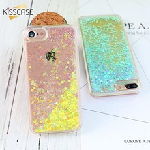 KISSCASE For iPhone 7 7 Plus Case Transparent Hard PC Coque Luxury Glitter Heart Quicksand Protective Cover For iPhone 7 7 Plus