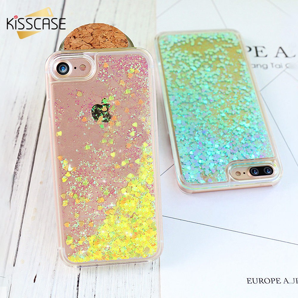 size 40 def32 0ae23 US $1.99 40% OFF|KISSCASE Glitter Flowing Case For iPhone 5S SE 5C 4S 6 6S  Heart Quicksand Phone Case For iPhone 6 6S Plus Girly Cute Cover Capa -in  ...
