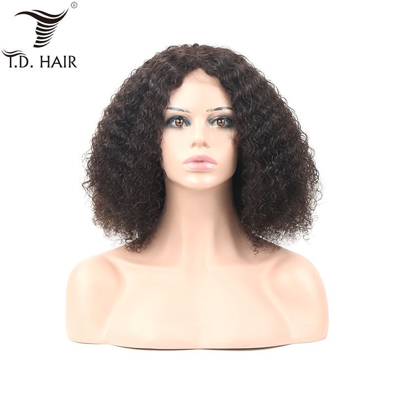 Brazilian Kinky Curly 4x4 Lace Frontal Wigs With Baby Hair 130% 150% 180% Density Curly Human Hair Wig With Pre Plucked Hair