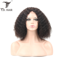 цена на Brazilian Kinky Curly 4x4 Lace Frontal Wigs with Baby Hair 130% 150% 180% Density Curly Human Hair Wig With Pre plucked Hair