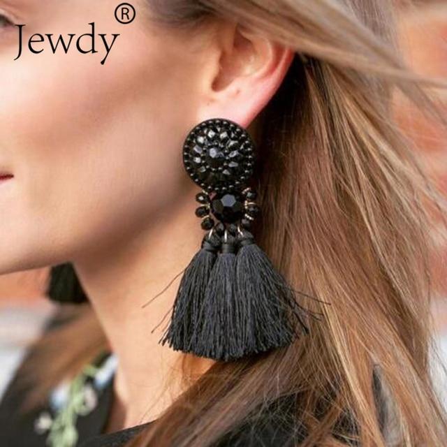 Fashion Hanging Drops Bead Long 4 Tassel Earrings Studs Stone Red Bijouterie Ear