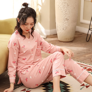 a2a508d9169c Conjunto de Camisón de algodón de 2 piezas para mujer 2019 camisón de mujer  ropa de dormir de alta ...