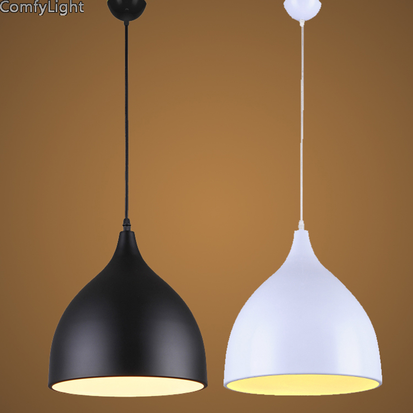 Modern iron Pendant Lights Lamparas black white lamp shade Luminaire Dining Room Lights Pendant Lamp For Home Lighting brief cup 2015 brief modern fashion circle pendant lights voltage 220 240v