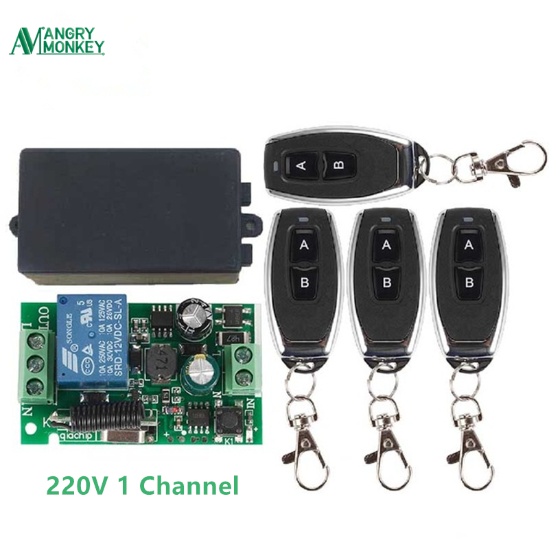 433Mhz Universal Wireless Remote Control Switch AC 85V ~ 250V 110V 220V 1CH Relay Receiver Module <font><b>4</b></font> pieces RF Remote Controls image