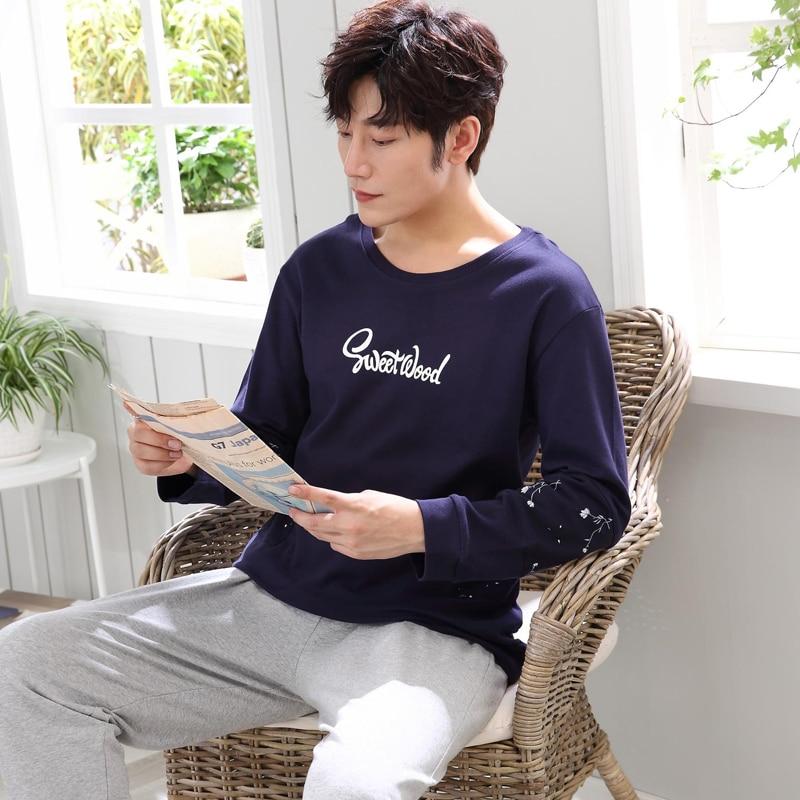 Autumn Winter Men's Pajamas Long Sleeve Home Wear Cotton letter Pyjamas Men Lounge Pajama Sets  Size L-3XL Sleepwear Sets
