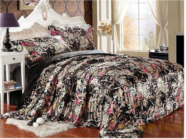 black floral silk satin luxury bedding set king queen full twin size quilt duvet cover bedspread