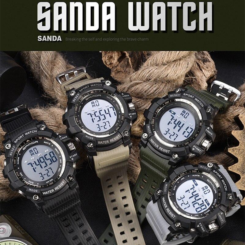 2020 SANDA montre numérique hommes marque de luxe montre militaire mode hommes Sport montre alarme chronomètre horloge mâle Relogio Masculino 4