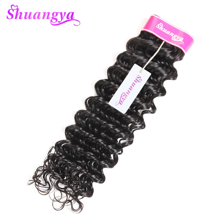 "Brasilianske Deep Wave Hair Weave Bundle 1/3 eller 4 Hair Extensions 8 ""-28"" Human Hair Bundles Naturfarve Shuangya Remy Hair"
