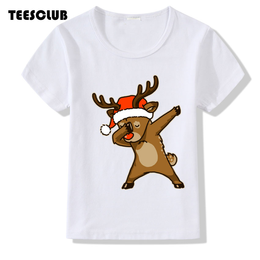 Children Top 2018 Dab Christmas Dear Print Baby T shirt Summer Casual Dabbing Unicorn Design Tshirt Girl Boy O-neck Tshirt